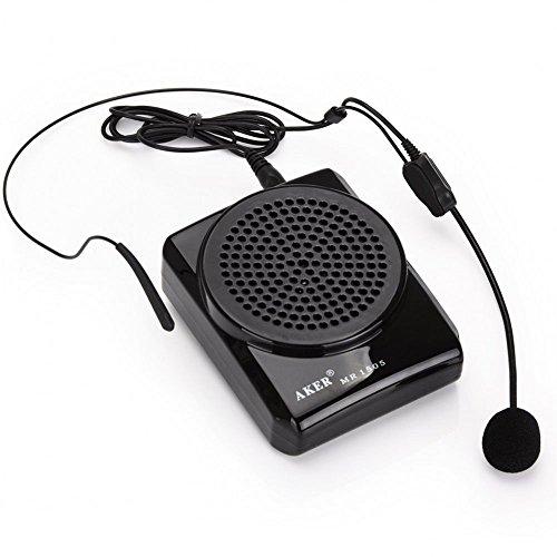 UUstar® Aker Stimmeverstärker 12 Watt Schwarz MR1505, Tragbar, für Lehrer, Trainer, Führer, Präsentationen, Kostüme usw.