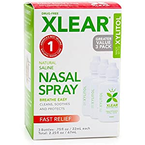 Xlear Saline Nasal Spray with Xylitol – 0.75 oz – 3 ct