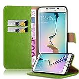 Cadorabo Hülle für Samsung Galaxy S6 Edge Plus - Hülle in Gras GRÜN – Handyhülle im Luxury Design mit Kartenfach und Standfunktion - Case Cover Schutzhülle Etui Tasche Book