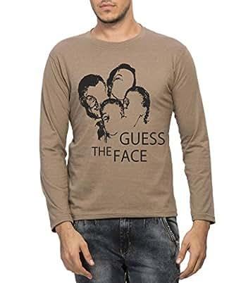 Clifton Men Printed Melange T-Shirt Full Sleeve R-Neck -Walnut -Guess The Face-S