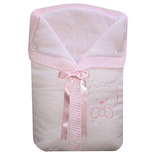 Saco de Mano o Capazo Osito, color rosa.
