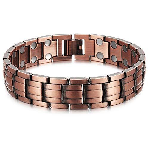 WJSW Magnet Armband Männer und Frauen Zweireihig Rot Kupfer Magnet Armband Linderung Gelenkschmerzen Handwurzel Gesundheit Behandlung Armband Magnet Balance Magnetfeldtherapie Armband