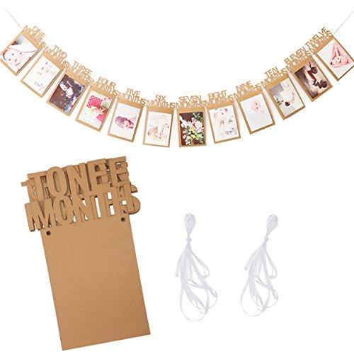 Ouinne Baby Kinder Ersten Geburtstag Geschenk, 12 Monate Neugeborene Baby Postkarten Foto Bilder Bunting Banner Girlande
