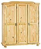 H24living Bauernschrank Massiv-Holz Bauernschrank Landhausstil Holzschrank 3-türig 5 Fächer 1 Kleiderstange (BxHxT) 150x180x56 cm