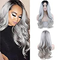 Eseewigs Synthetic Long Wave Ombre Wig Two Tones Black Rooted Grey Heat Resistant Cheap Middle Part Wig 130% High Density for Women