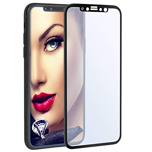 mtb more energy® Gewölbtes Premium 3D Schutzglas Anti-Blue-Light für Apple iPhone X (5.8'') | Schwarz | Kantenschutz | Curved Display Glasfolie