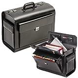 Excl. PILOTENKOFFER ECHT LEDER schwarz groß mit Notebookfach mit Zahlenschloß