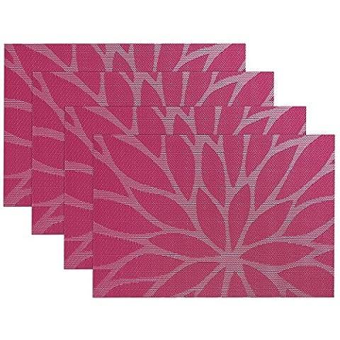 yalulu Fleur Table Sets de table sets de table de salle à manger en PVC pour isolation thermique antitache tissé en vinyle Cuisine Set de table Sets de table, lot de 4 rose rouge