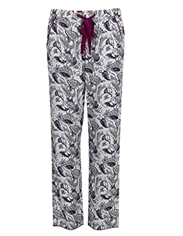 Cyberjammies 3235 Women's Harriet White with Aqua Blue and Burgundy Cotton and Modal Pajama Sleepwear PJs Pyjama Bottoms 50