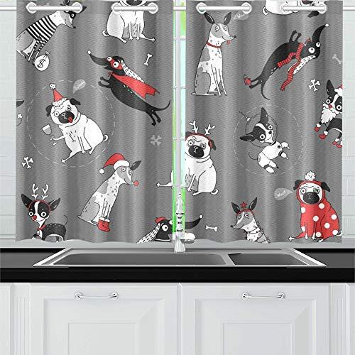 JOCHUAN Lustige Textur Hunde Weihnachten Kostüme Küchenvorhänge Fenster Vorhangebenen für Café, Bad, Wäscherei, Wohnzimmer Schlafzimmer 26 X 39 Zoll 2 ()
