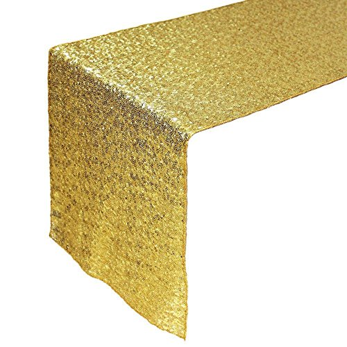 tankerstreet 33x 274,3cm Beautiful Sparkle Party Stoff Pailletten Tischläufer Tuch Tischdecken für Hochzeit Party Dekorationen–Gold