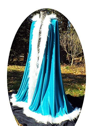 ShineGown Frauen Kapuzen Damen Umhang Lange Brautverpackungen Wedding Kap Faux Pelz Elegant Fuer Weihnachten Halloween Cosplay Kostueme