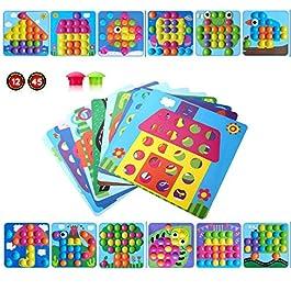 Gioco Bottoni per Bambini Apprendimento Mosaico Unghie Giocattolo 3D Puzzle Button Art Immagine Fungo Precoce Educativo…