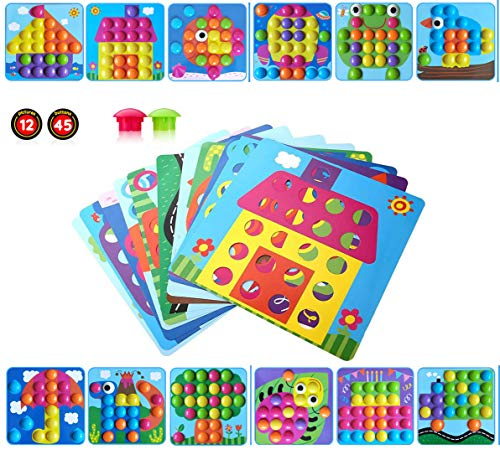 Gioco bottoni per bambini apprendimento mosaico unghie giocattolo 3d puzzle button art immagine fungo precoce educativo pegboard chiodini per ragazzi e ragazze toddlers regali di festa di natale