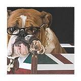 XiangHeFu Tovagliette Cute Animal English Bulldog Bandiera 30,5x 30,5cm One Piece termoresistente Antiscivolo per Tavolo, Poliestere e Misto Poliestere, Image 461, 12x12x1(in)