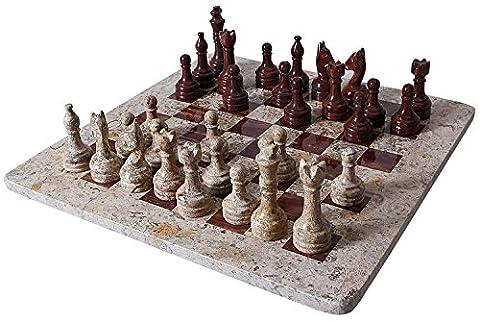 Handmade Dark and Light Brown Original Marble Full Chess Game