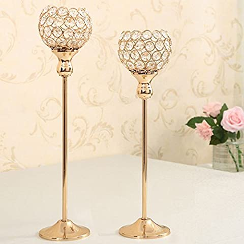 VINCIGANT Gold Votive Candle Holders Set for Wedding Dining Room Table Decoration Crystal Pillars Candlestick 40 & 45cm Tall
