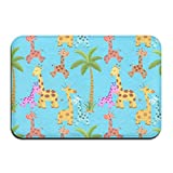 liangxiquguidaojiaotongshe Non-Slip Doormat Coconut Giraffe Durable Mats rug Bathroom Bedroom Floor Carpet