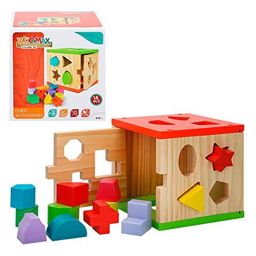 WOOMAX- Cubo actividades madera 14 piezas ColorBaby