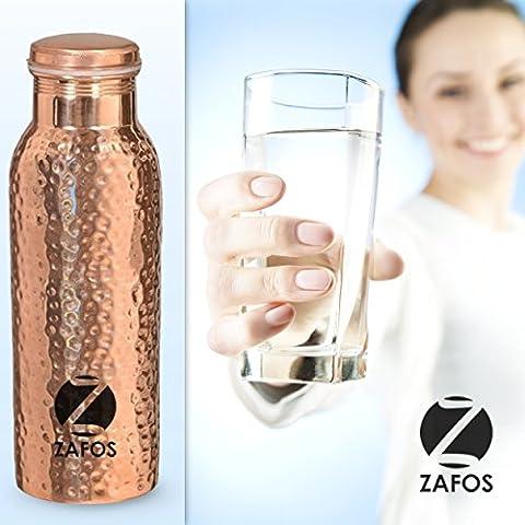 zafos Yoga in rame martellato acqua bottiglia 600ml con 99,5% purezza.Fatto a mano, senza giunture e a prova di perdite per Ayurvedic Health benefici, Sport. Assistenza gratuita punte.