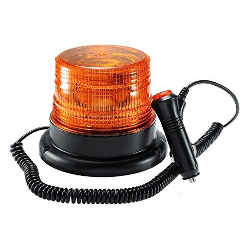 Appow - Luce LED stroboscopica lampeggiante di emergenza, ambrata e magnetica, per camion con spina accendisigari da 12 V (30 LED) (ambra)