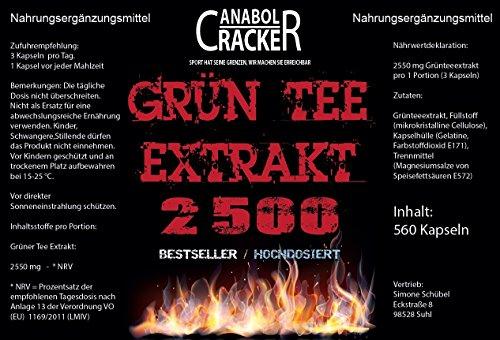 1120 Kapseln – Grün Tee Extrakt, 2500mg Hochdosiert / Tagesdosis, Grüner Tee / Green Tea, Abnehmen, Fettverbrennung, Appetithemmer