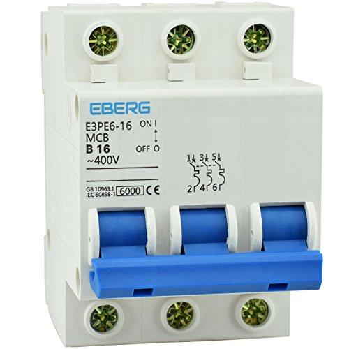Preisvergleich Produktbild EBERG E3PE6-16 16A Sicherungsautomat B16 Leitungsschutzschalter 230/400V Sicherung MCB für Sicherungskasten mit Hutschiene