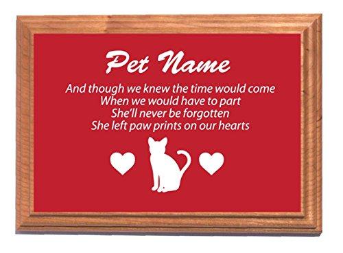 Personalizzato gatto targa commemorativa (rosso) con dorso in legno di quercia e picchetto opzionale, Alluminio, Plaque & Backing Board