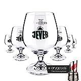 6 x Jever Glas/Gläser 0,3l Schwenker Bierglas Gastro Bar Deko NEU + anygoods Flaschenausgiesser