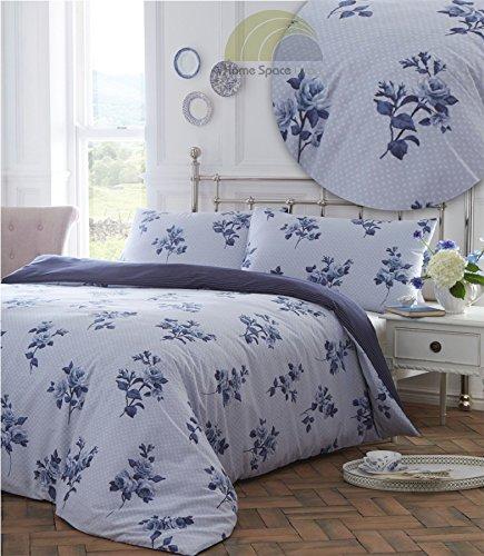 Floral Polka Dot Blau Super King Quilt Bettbezug & 2Kissenbezüge Bettwäsche Bettwäsche Set Wendbar NEU (Floral Quilt Bettwäsche Set)