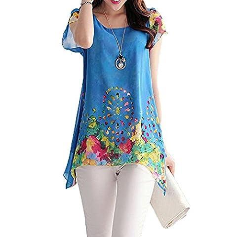 Hippolo Chemisier en mousseline de courroie O cou Imprimé floral creux Out Overlay Pétale manches T Shirt TOPS multicolores XL bleu
