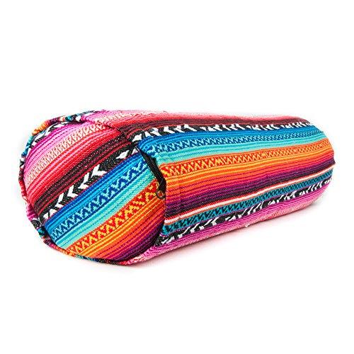 Yoga Bolster-rotonda cotone-imbottitura di grano saraceno biologico Lolla regolabile-lavabile copertura-stile tribale 60cm