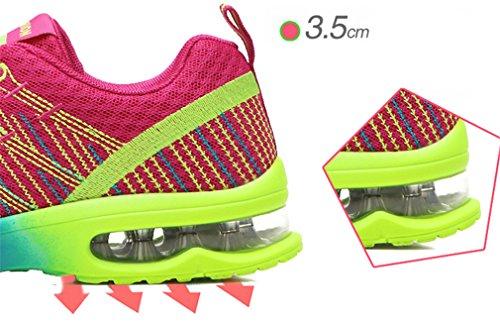 NEWZCERS sport aria ammortizzazione fare jogging a piedi delle donne a cavallo pattini correnti scarpe da ginnastica di moda rosa rossa