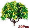 20pcs 2.8 inch Scenery Landscape Train Model Trees w/ Yellow Flowers - Scale 1/100