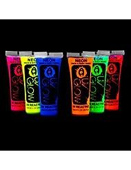 UV Glow Lot de 6 tubes de peinture fluorescente pour le visage et le corps 6 x 10 ml