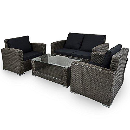 Deuba XXL Poly Rattan 4+1 Lounge Grau | 7cm Sitzauflagen | 2 Sessel + 1 Bank | 1 Tisch 5 mm Glastischplatte | Wetterfest | Waschbare Bezüge [ Modellauswahl ] - Gartenmöbel Terrasse Wintergarten Set