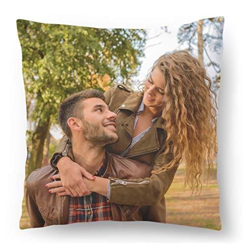 Personalisiertes FOTOGESCHENK mit eigenem Foto (45 x 45 cm) Foto-Kissen mit Deinem Foto & Text Bedrucken Zum Jahrestag, Geburtstag, Valentinstag (mit Füllung) Foto Full [091]