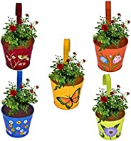 CINAGRO - Set of 5 - Designer Hand Painted Railing Metal Planter, Plant Holder, Balcony, Home Garden - (Maroon, Orange, Blue