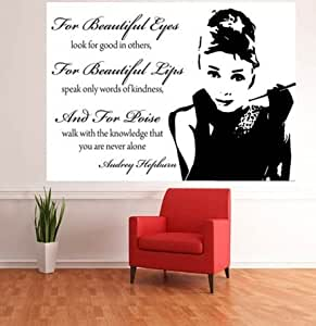art fever audrey hepburn foto tapete wand wandbild zitate selbstklebend k che haushalt. Black Bedroom Furniture Sets. Home Design Ideas