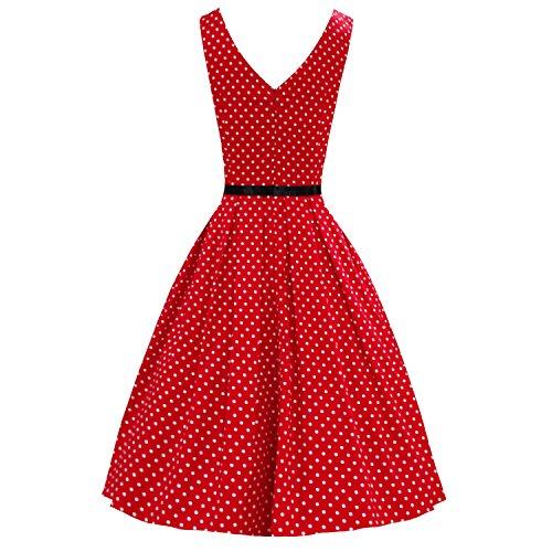 LUOUSE Damen Kleid Neckholder 50er Blumen Schaukel Pinup Rockabilly Vintage Kleid V095-Red