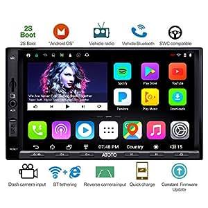 ATOTO A6 Android Radio GPS de Navigation de Voiture avec Double Bluetooth et Charge Rapide -Premium A6Y2721PB Multimédia de Divertissement pour Voiture, WiFi/BT Internet Tethering, Soutien 256G SD