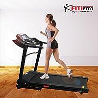 Fitifito FT660 Profi Laufband 6PS 16km/h mit LCD Bildschirm, Dämpfungssystem, 15 Trainingsmodulen inkl. HRC - Klappbar, Schwarz