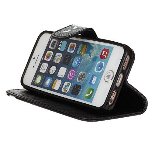 MOONCASE iPhone 5C Coque, Modèle Case Portefeuille [Porte-cartes] Housse en Cuir Etui à rabat avec Béquille pour iPhone 5C -S01 S04