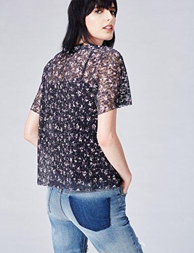 FIND Damen Halb-transparente Bluse mit Blumenmuster Mehrfarbig (Multicoloured)