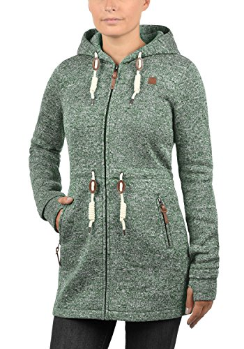 DESIRES Thora Damen Lange Fleecejacke Sweatjacke Jacke Mit Kapuze Und Daumenlöcher, Größe:XL, Farbe:Climb Ivy (3785) - 2