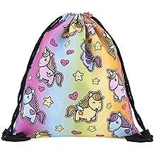 BeautyLife–& # x24C7; Las mujeres niñas mochila bolsa Colorful Unicorn Mochila Bolso de escuela