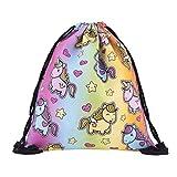 BeautyLife & # x24C7, die Frauen Mädchen Turnbeutel mit Kordelzug Colorful Einhorn Rucksack Schule Tasche