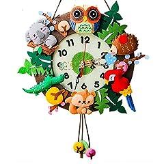 Idea Regalo - treasure-house bambini DIY orologio da parete Mcloth Art Aterial set Fun foresta orologio da parete Cartoon Animal orologio da parete