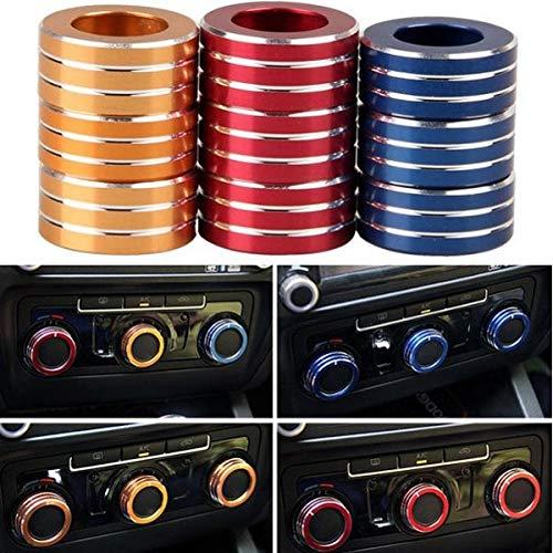 Autos Alu Dekorative Knob Ring Klimaanlage Knob Ring für Neue Sagitar 2012-2014 Golf 6 Autozubehör (Color : Gold) ()