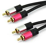 Câble audio RCA 3M 2 mâles vers 2 mâles. Câble audio stéréo blindé haute qualité 2 x RCA vers 2 x RCA. Fiches plaquées Or 24K et triple blindage. Cordon souple. Disponible en plusieurs longueurs.